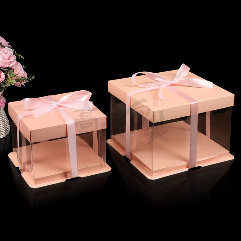 New Design Cylinder Cardboard Paper Box with Clear Pvc Window for Cake