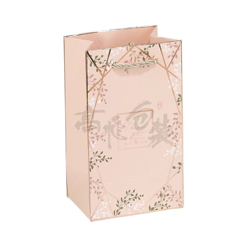 pink retail christmas makeup packaging paper bags with handles and logo for jewelry