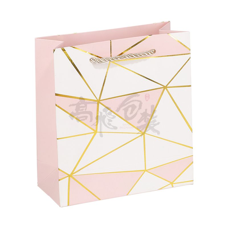 pink jewelry christmas paper packaging bags with handles and logo