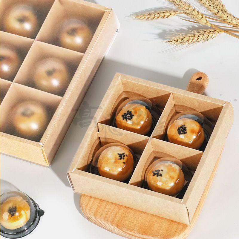 Custom Foldable Food Grade Kraft Cardboard Egg Tart Cookie Gift Box Moon Cake Cupcake Paper Drawer Box