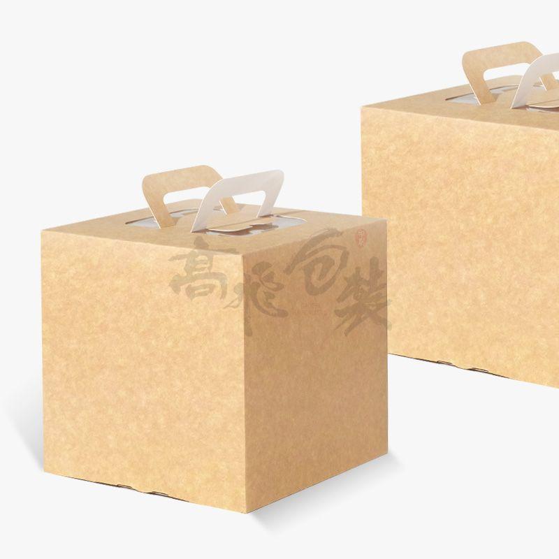 Custom  Brown Kraft Paper Food Cake Box With Handles And Window