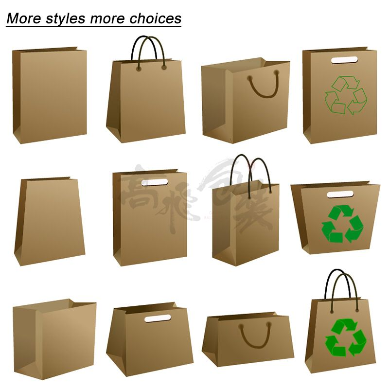 Recycled Custom Printed Christmas Washable Kraft Retail Paper Shopping Packaging Bags